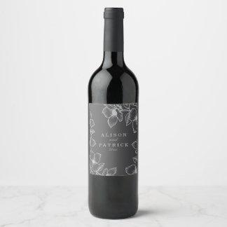 Etiqueta Para Botella De Vino Floral gris