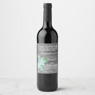 Etiqueta Para Botella De Vino Florales azules de la acuarela tema del país