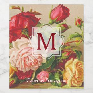 Etiqueta Para Botella De Vino Flores del ramo de los rosas del Victorian del