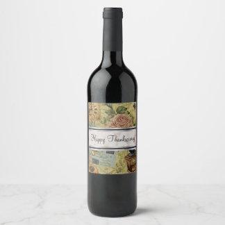Etiqueta Para Botella De Vino Flores felices del vintage de la acción de gracias