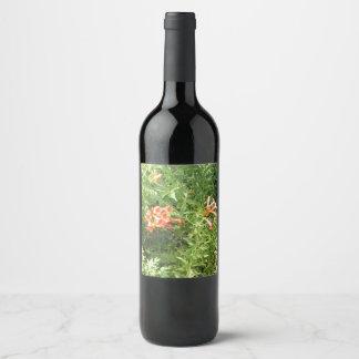 Etiqueta Para Botella De Vino Flores salvajes rojas