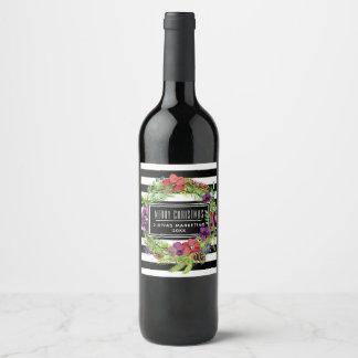 Etiqueta Para Botella De Vino Flores y rayas de la acuarela