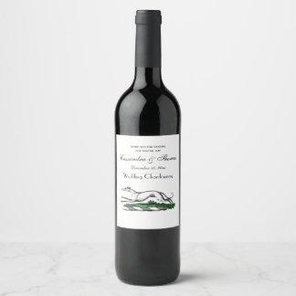 Etiqueta Para Botella De Vino Galgo Whippet que corre el emblema heráldico del