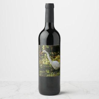 Etiqueta Para Botella De Vino Gran Egret que vadea en los marismas