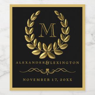 Etiqueta Para Botella De Vino Guirnalda elegante del laurel del oro y boda del