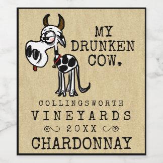Etiqueta Para Botella De Vino Hecho en casa divertido de la vaca borracha