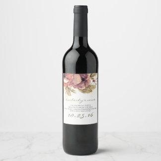 Etiqueta Para Botella De Vino La acuarela florece el boda elegante