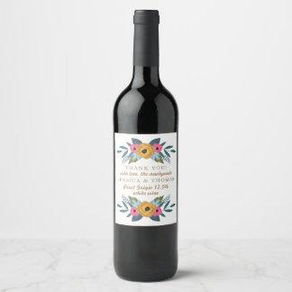 Etiqueta Para Botella De Vino La colección blanca del boda de la guirnalda