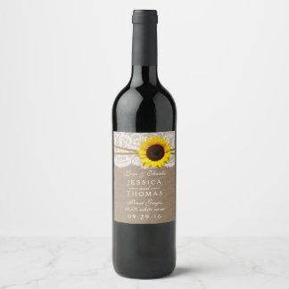Etiqueta Para Botella De Vino La colección rústica del boda del girasol