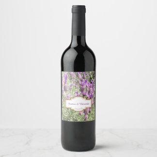 Etiqueta Para Botella De Vino La lavanda francesa florece el boda de encargo