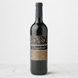Etiqueta Para Botella De Vino La pata del punto del leopardo imprime la