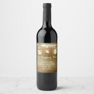 Etiqueta Para Botella De Vino La secuencia rústica enciende la madera del