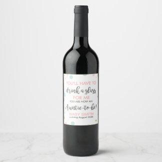 Etiqueta Para Botella De Vino La tía a ser embarazo revela la invitación del