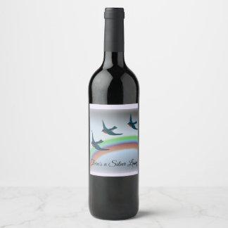 Etiqueta Para Botella De Vino Lado positivo, Bluebirds y arco iris