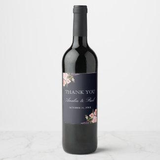 Etiqueta Para Botella De Vino Los Peonies de la acuarela de la marina de guerra