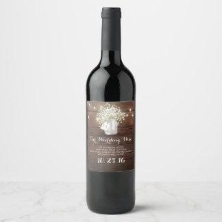 Etiqueta Para Botella De Vino Luces del tarro de albañil y granero rústicos de