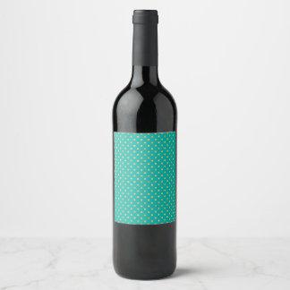 Etiqueta Para Botella De Vino Lunares elegantes - menta y Oro
