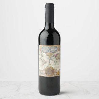 Etiqueta Para Botella De Vino MAPA DEL MUNDO del vintage