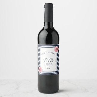 Etiqueta Para Botella De Vino Marina de guerra y rayas blancas con acentos