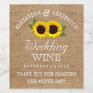 Etiqueta Para Botella De Vino Mirada de la arpillera y boda rústico del país de