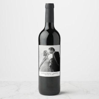 Etiqueta Para Botella De Vino Mirada minimalista con su foto del boda