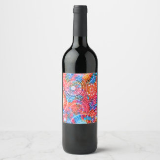 Etiqueta Para Botella De Vino Modelo bohemio brillante de la moda del hippy de