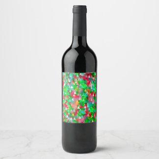 Etiqueta Para Botella De Vino Modelo de la acuarela del árbol de navidad