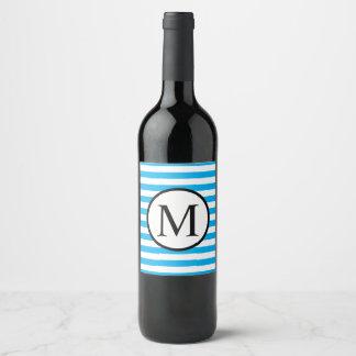Etiqueta Para Botella De Vino Monograma simple con las rayas horizontales azules