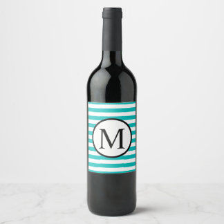Etiqueta Para Botella De Vino Monograma simple con las rayas horizontales de la