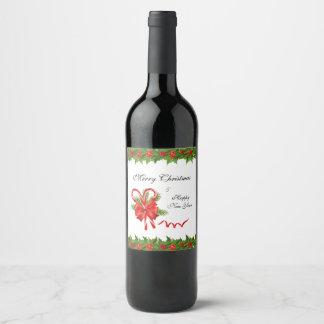 Etiqueta Para Botella De Vino Navidad de las bayas del acebo y bastones de
