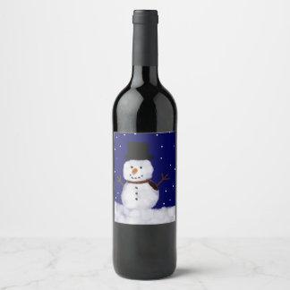 Etiqueta Para Botella De Vino Nevado el muñeco de nieve