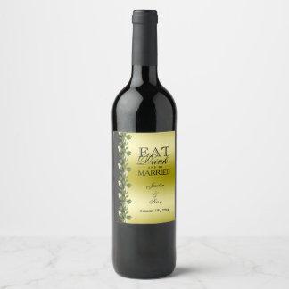 Etiqueta Para Botella De Vino Oro romántico floral elegante y boda negro