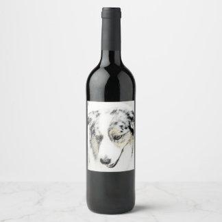 Etiqueta Para Botella De Vino Pastor australiano