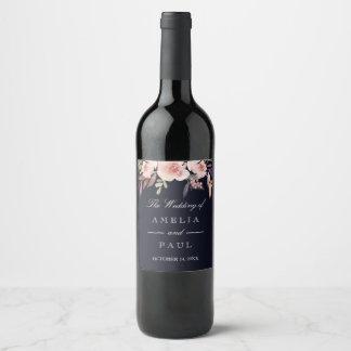 Etiqueta Para Botella De Vino Peonies del rosa de la acuarela de la marina de