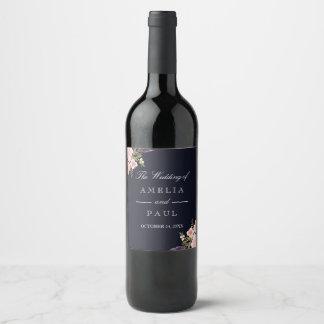 Etiqueta Para Botella De Vino Peonies rosados de la acuarela de la marina de