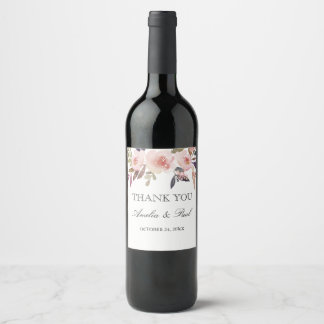 Etiqueta Para Botella De Vino Peonies rosados de la acuarela que casan la