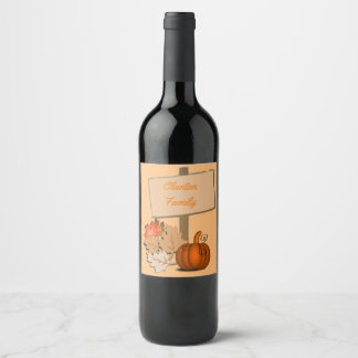 Etiqueta Para Botella De Vino Personalizado de madera de la calabaza de la