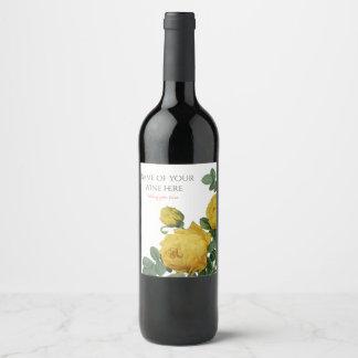 Etiqueta Para Botella De Vino Pintura del rosa amarillo del vintage