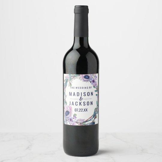 Etiqueta Para Botella De Vino Pluma de Boho y monograma floral del boda de la