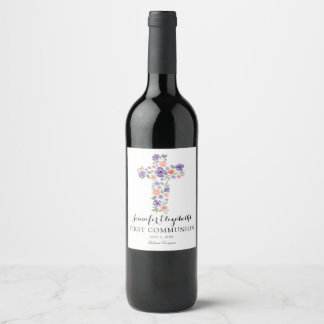 Etiqueta Para Botella De Vino Primera comunión de la acuarela de la cruz púrpura