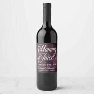 Etiqueta Para Botella De Vino Púrpura de la sangría de la uva del día de madre