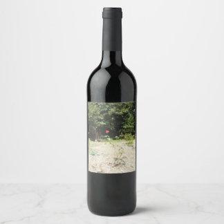 Etiqueta Para Botella De Vino Rosa rojo hermoso