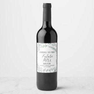 Etiqueta Para Botella De Vino Señora futura Bridal Shower de la guirnalda