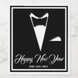 Etiqueta Para Botella De Vino Smoking de la Feliz Año Nuevo (o su texto)