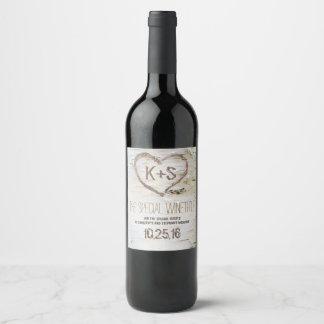 Etiqueta Para Botella De Vino Talla de corazón rústica de corteza de abedul
