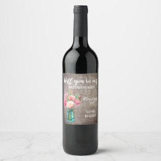 Etiqueta Para Botella De Vino Tarro de albañil rústico usted será mi dama de