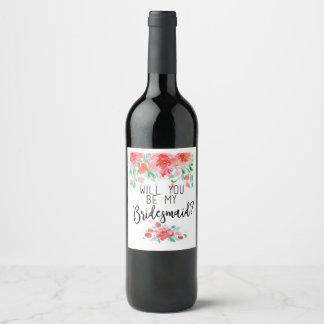 Etiqueta Para Botella De Vino ¿Usted será mi dama de honor? Favor del boda