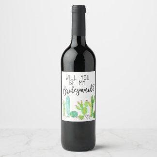 Etiqueta Para Botella De Vino ¿Usted será mi dama de honor? Favor del boda del