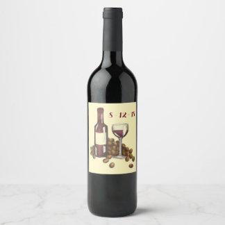 Etiqueta Para Botella De Vino Uvas rojas de la botella de cristal de la