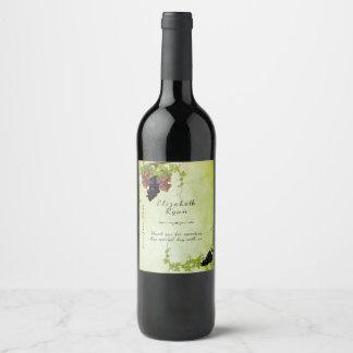 Etiqueta Para Botella De Vino Viñedo rústico precioso, acuarela, personalizado